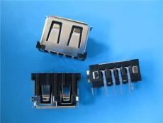 USB 90度短體黑膠兩個魚叉腳